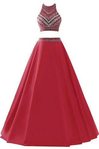 Beading Prom Dress,2 Pieces Prom Gowns,Elegant Evening Dress,Two Piece Evening Gowns,2 Pieces Evening Gowns