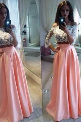 2 Piece Prom Gown,Two Piece Prom Dresses,White Evening Gowns,2 Pieces Party Dresses,Chiffon Evening Gowns,Lace Formal Dress For Teens