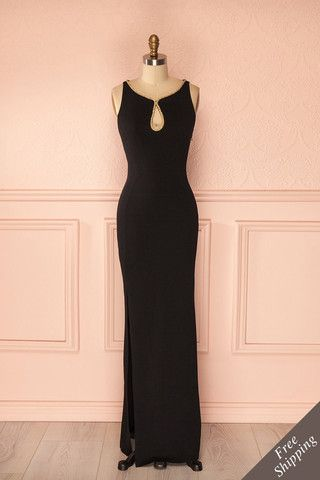 Simple Black Sleeveless Keyhole Mermaid Floor-Length Prom Dress, Evening Dress, Formal Dress