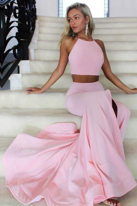 Pink Two Pieces Prom Dress,Simple Slim Long Mermaid Prom Dresses, High Neck Prom Dress, Senior Prom Dress, Sexy Slit Prom Dress, Prom Party Dress, Prom Dress