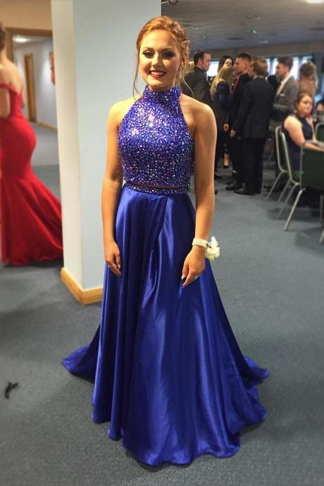 Sexy Royal Blue Prom Dresses,2 Piece Prom Dress,Two Piece Prom Dresses,Satin Prom Dresses, Long Prom Party Gown, Senior Prom Dress