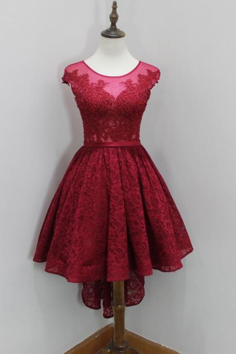 Wine Red Lace Homecoming Dress, High Low Prom Dress, Round Neckline Prom Dresses, Burgundy Homecoming Dresses, High Low Formal Dresses, Short Evening Dress