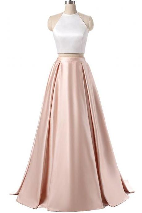 Charming Formal Halter Two Pieces Prom Dress, Party Gowns With Pockets, Light Pink Prom Dress, Simple Satin Prom Dress, 2 Pieces Prom Dresses, Senior Prom Dress, Prom Dress for Teens