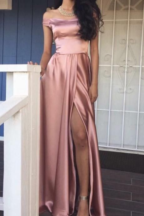 Pink Long Prom Dress with Slit, Elegant Off the shoulder Long Slit Prom Dress, Evening Dress, Formal Dresses, Prom Evening Dress