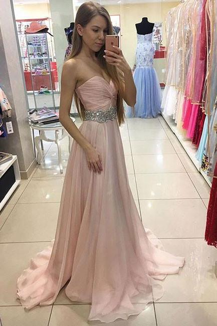 Beaded Pink Sweetheart Prom Dress,Chiffon Formal Gown,Long Party Dress With Draped Bodice