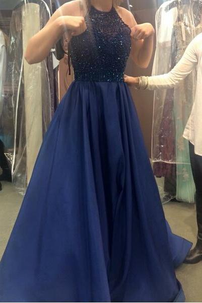 Royal Blue Prom Dress,Sexy Evening Gowns,Beaded Bodice Prom Gown,Ball Gown Prom Dress,Princess Prom Dresses,2017 New Fashion Evening Gown,Party Dress For Teens