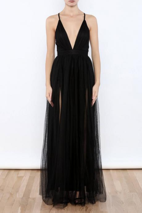 Sexy Black Prom Dresses, Plunging V Neck Side Slit Evening Gowns,Tulle Prom Dress