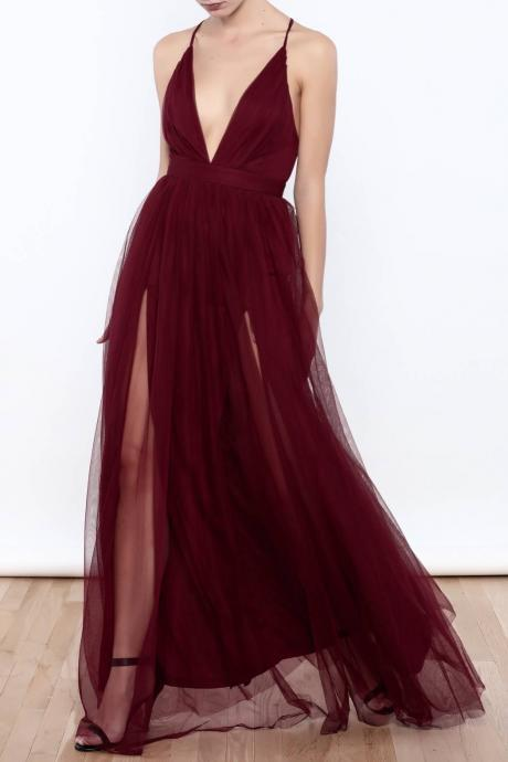 Sexy Deep V Neck Tulle Maxi Dress, Tulle Prom Dress, High Slit Prom Dress, Backless Prom Dress, Criss-cross Back Prom Evening Dress, Burgundy Prom Dress, Sexy Party Dress