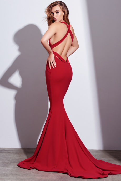 Red Prom Dress, Sexy Red Mermaid Long Prom Dress, Formal Evening Dress with C