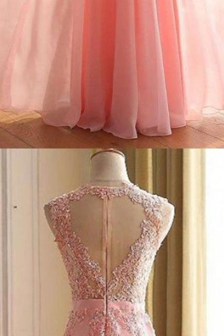 Lace Appliques Prom Dresses, Floor Length Prom Dress, Formal Dresses, A-line Sleeveless Zipper Back Chiffon Lace Prom Dresses