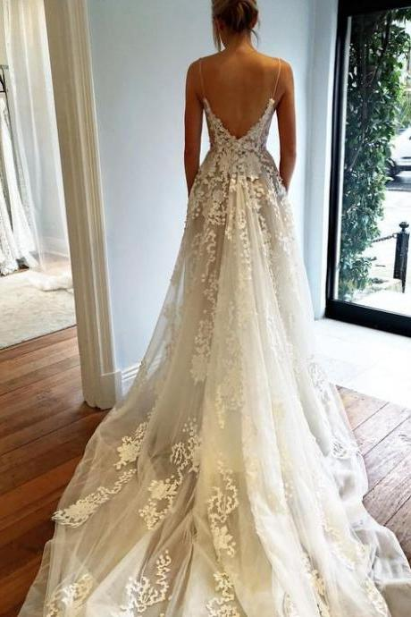 Wedding Dress,Wedding Dress,Fashion Wedding Dress,Modest Wedding Dress,Sexy Deep V neck Wedding Dress,Open Back Lace Wedding Dress,Long Train Wedding Gown