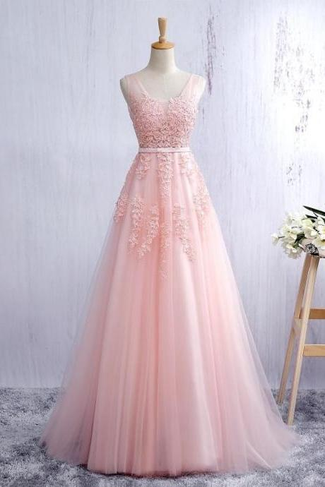 Custom Made Pink Scoop Neck Tulle Evening Dress, V - Open Back A Line Formal Gown With Lace Appliques, Prom Dresses, Bridesmaid Dresses, Wedding Collection