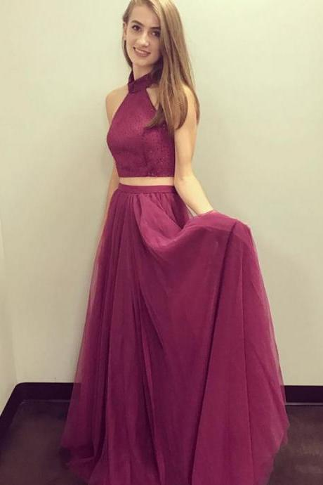 Modern Two Piece Prom Dress,A-Line Halter Burgundy Prom Dresses,Tulle Long Prom Dress,Evening Dress With Sequins