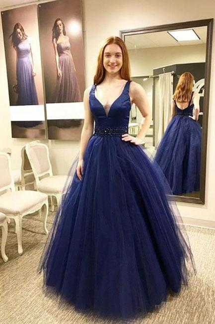 Dark blue v neck tulle long prom dress, blue evening dress Prom Gowns, Formal Women Dress,
