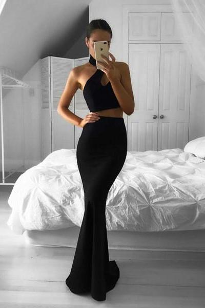 Black Prom Dress,Sexy Prom Dress,Mermaid Style Prom Dress,Sexy Black Evening Dress,2 pieces Evening Dress