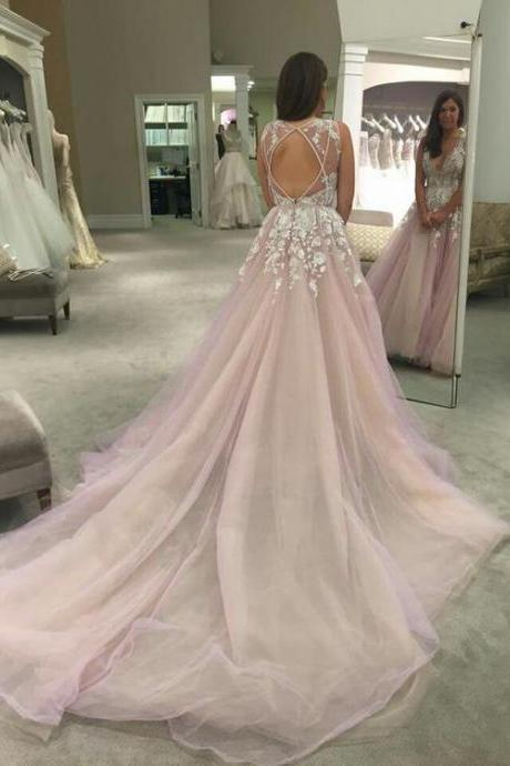 Glamorous V-Neck Prom Dress,Sweep Train Sleeveless Prom Dresses,Lilac Prom Dress with Appliques ,Beautiful Prom Dress,Long Prom Gowns,Sexy Prom Party Dress,Light Pink Prom Dresses, Blush Wedding Dress,Charming Evening Dress