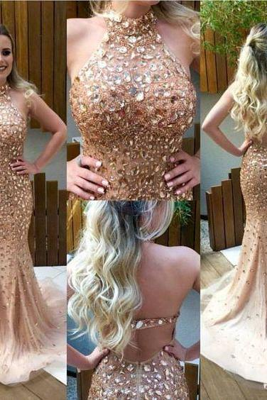 Beading Prom Dress,Crystals Beaded Eveing Prom Dress,Senior Prom Dress, Senior Prom Dress, Tulle Mermaid Prom Dress, Hot Sale Prom Gowns