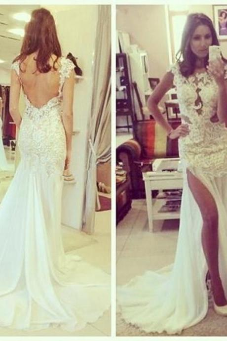 Sexy White Lace Mermaid Prom Dresses,Slit Backless Prom Dress,Long Train Evening Dress, Beach Spaghetti Strap Party Dress