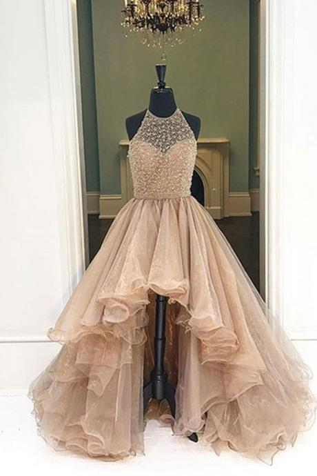 Champagne Organza Prom Dress,Halter High Low A-line Long Dress,High Quality Prom Dress,Modest Prom Dress,Prom Gowns,Party Dress,formal dresses for teens ,Beading Prom Dress
