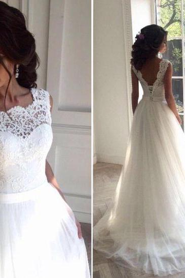 Wedding Dress,Delicate Lace V-back Wedding Gown, Bridal Dress, Formal Wedding Dress,Custom Made Wedding Dress,Wedding Gonws,Tulle and Lace Wedding Dress