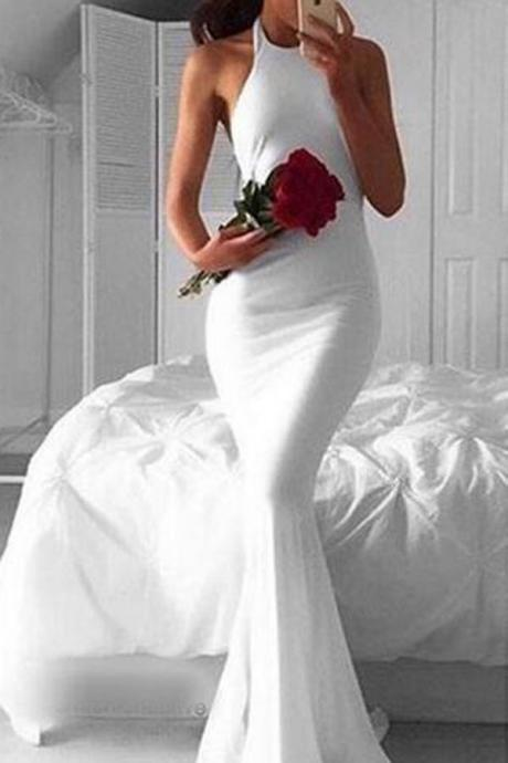 Simple Halter Long Sleeveless White Mermaid Prom Dress,Cheap Prom Dress,Evening Gowns for Teens