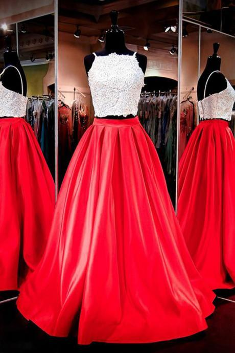 Gorgeous Two-piece Prom Dress,Square Neck Red Floor-Length Prom Dresses with Lace,Cheap Prom Dress,Evening Gowns for Teens