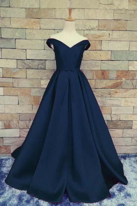 Charming Dark Navy Blue Prom Dress,A Line Prom Dresses, Satin Off The Shoulder Evening Gowns With Belt