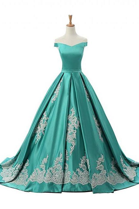 Green Off The Shoulder A Line Prom Dress, Princess Prom Gown With Lace Appliques Prom Gowns