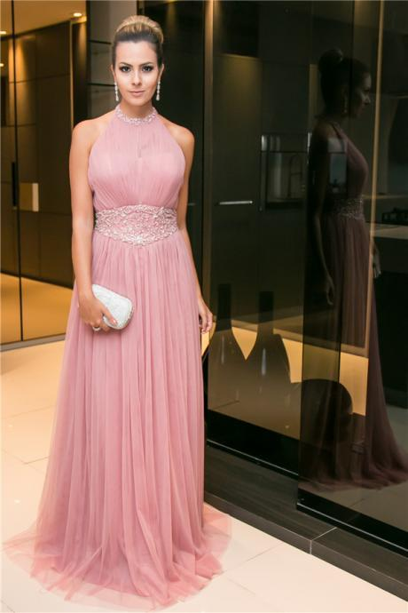 Pink Open-Back Tulle Sleeveless Long Halter Beaded Evening Dress Backless Party Dresses