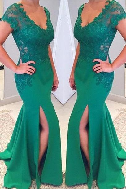V-neckline Short Sleeves Prom Dresses,Mermaid Lace Applique Prom Dress,Green Prom Dress,Prom Dress