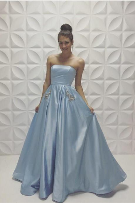 A-line Baby-Blue Prom Dress,Sleeveless Strapless Beads Prom Dresses,Newest Prom Dress