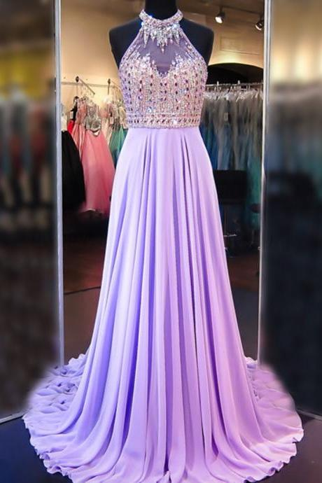 A Line Cowl Neck Sleeveless Prom Dress,Long Pleated Beaded Lilac Prom Dress,Open Back Prom Dresses