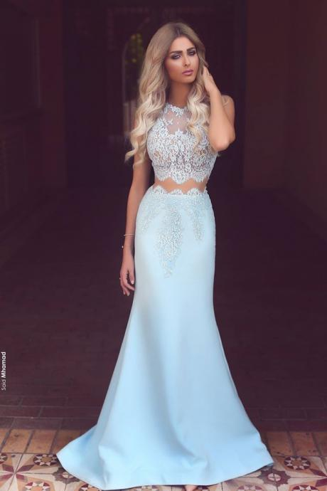 Prom Dresses,Long Prom Dresses,Baby Blue Two Piece Evening Dress,Long Lace Mermaid Prom Dresses Cheap
