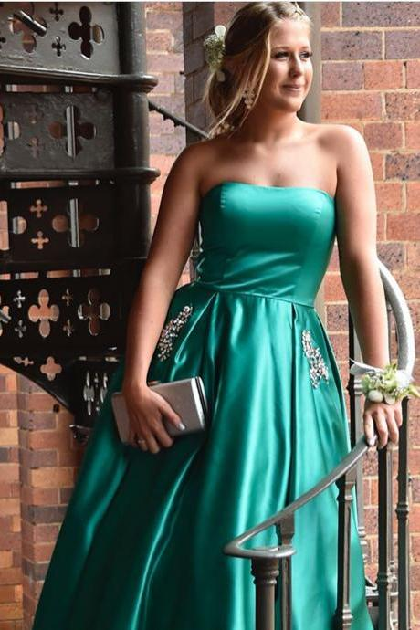 Sexy Sleeveless Prom Dress, Strapless A Line Prom Dresses,Long Evening Dress