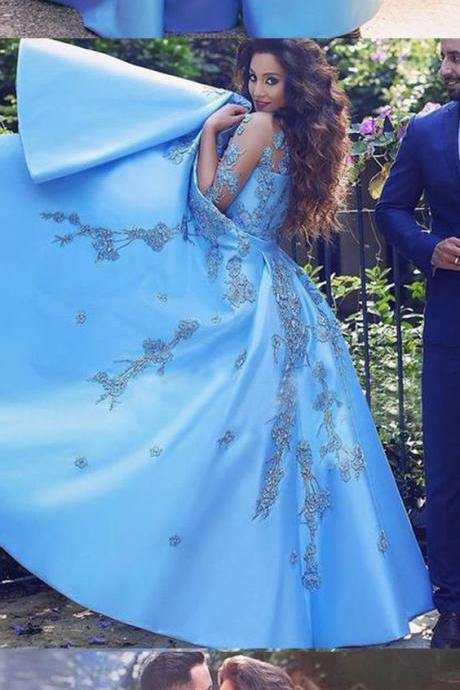 Prom Dress,Half sleeve Appliques Prom Dress,Long Blue Popular Prom Dresses,Evening Dress,
