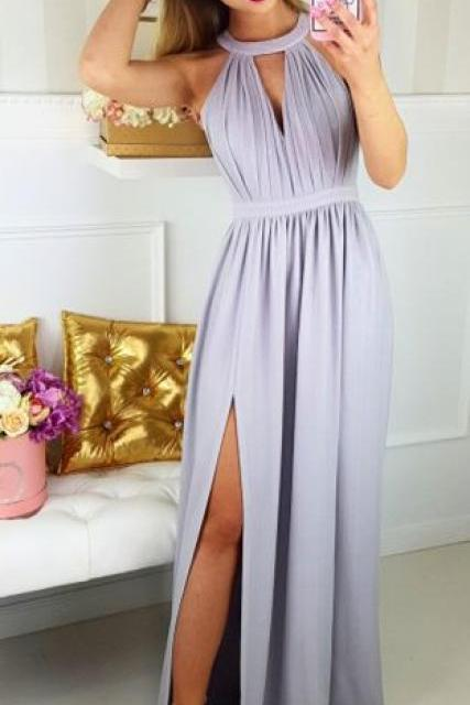 Sexy Slit Prom Dress,Halter Neckline Party Dress,Sexy Keyhole Back Formal Dress,Grey Graduation Dress,