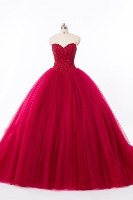 Sweetheart Red Tulle Wedding Dress,Ball Gown Beaded Wedding Dresses,Red Bridal Dresses,