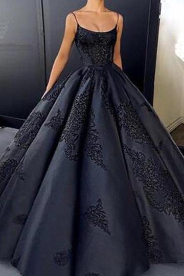 Black satin prom dress,customize A-line long prom dresses,winter formal prom dress, long evening dress with appliques