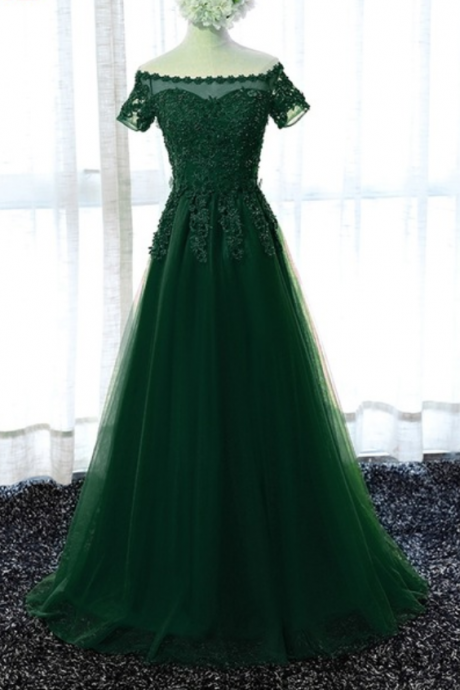 Open Back Prom Dress,Green Beaded Formal Dresses,Elegant Cheap Long Prom Dresses,