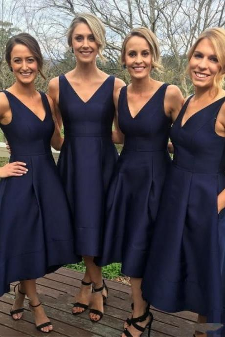 High Low Satin Bridesmaid Dress, Tea Length Bridesmaid Dress, Satin Bridesmaid Dress, Navy Blue Bridesmaid Dress, Sexy V Neck Long Bridesmaid Dress, Simple Cheap Bridesmaid Dress Under 100, Short Front Long Back Junior Party Dress For Wedding, Plus Size Bridesmaid Dress