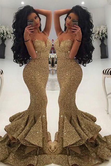 Gold Sequins Prom Dress, New Prom Dress, Sexy Spaghetti Strap Long Prom Dress, Vintage Gold Party Dress, Sexy Mermaid Long Gold Party Dress, Rufles Tiered Formal Dress, Floor Length Gold Sequins Prom Dress,Gold Prom Dress Floor Length, Sweetheart Sequins Party Dress, Cheap Vestidos De Festa