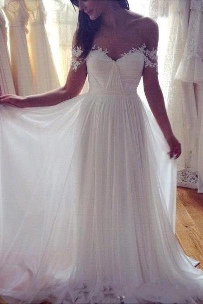 Off The Shoulder Lace Wedding Dress, Vintage White Lace Wedding Bridal Dress, Wedding Dresses, Long Robe De Marriage Plus Size, Short Sleeve Pleats Chiffon Long Bridal Dress, Boho Lace Wedding Dress, A Line Beach Weddiing Bridal Gowns