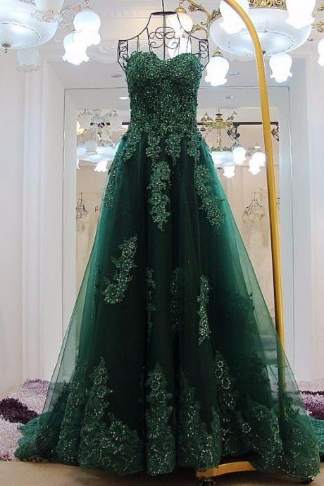 Elegant Green Appliques Long Prom Dresses Sexy Sweetheart Backless A Line Court Train Pageant Party Dress Vestidos De Festa
