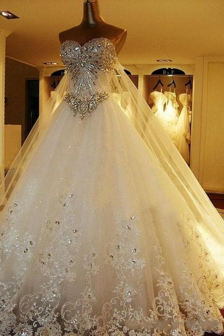 Luxury Crystal Wedding Dress,Wedding Gowns,Lace Appliques Wedding Dresses,Cathedral Train Lace-Up Back Bridal Gowns,Plus Size Church Style Generous Robe De Marriage