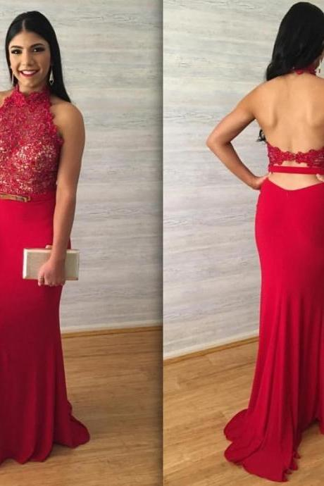 Red Lace Prom Dress, Halter Prom Dress, Sexy Backless Long Mermaid Prom Dress,Sleeveless Red Party Dress, Formal Red Party Dress With Belt Sash,Floor Length Prom Dress,Prom Dress, Long Prom Dresses Floor Length,Vestidos De Festa, Vestidos Longo