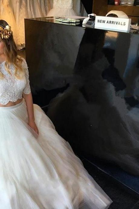 Two Pieces Lace Wedding Dresses With Half Sleeve, A Line High Neck Long Wedding Dress, Vintage Wedding Gowns, Illusion Lace Bridal Dresses Plus Size,Customize Lace Wedding Dresses