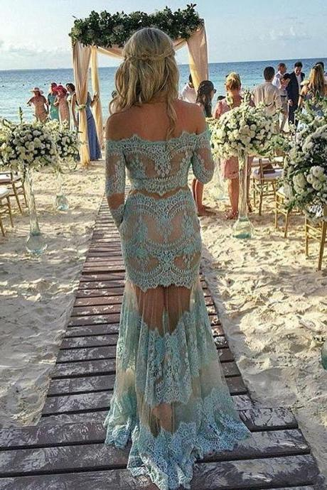 Two Pieces Turquoise Lace Prom Dress, Boat Neck Party Dress, Off The Shoulder Prom Dresses,Long Sleeve Prom Dresses, Sexy See Through Beach Lace Party Dresses, Illusion Back Sheer Prom Dresses Vintage, Cheap Turquoise Boho Party Dresses, Long Sleeve Lace Party Dresses