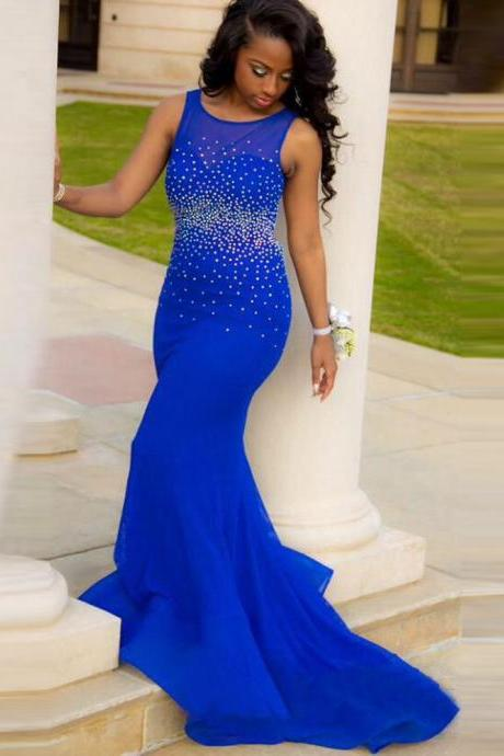 Elegant Royal Blue Long Prom Dress, Shiny Beaded Vintage Evening Dresses,Sheer Prom Dresses, Sexy Mermaid Long Party Dresses, Backless Tank Party Dresses Plus Size, Customize Pageant Women Party Dresses Abendkleider