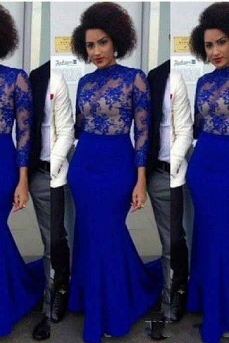 Elegant Royal Blue Lace Prom Dress. Long Sleeve Lace Prom Dresses Cheap, Sexy Sheer Prom Dresses, Long Mermaid Lace Illusion Evening Dress Formal Gowns, Vintage Prom Dresses, Abendkleider , Elegant Royal Blue Formal Evening Dress