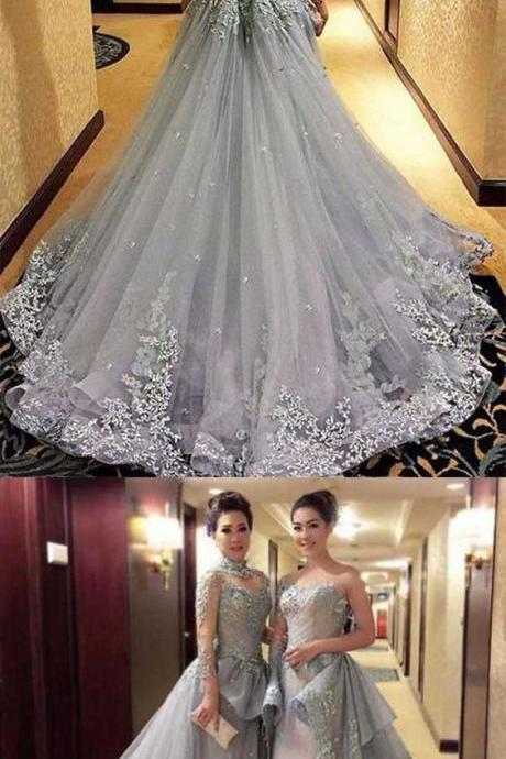 Ball Gown Wedding Dresse, Princess Long Sleeves Wedding Dress, Tulle Evening Dress, Gray Long Wedding Dresses, Prom Dress,